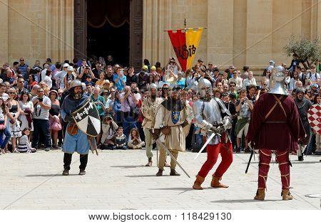 Mdina, Malta - April 19: The Mdina Medieval Festival And Tourists On April 19, 2015 In Mdina, Malta.