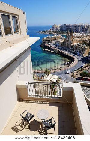 The Sea View Terrace At Luxury Hotel, Malta