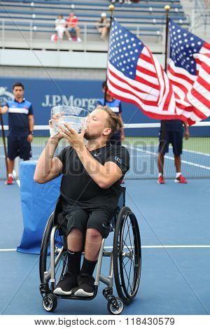 Tennis player Dylan Alcott of Australia during trophy presentation after victory at  Wheelchair Quad