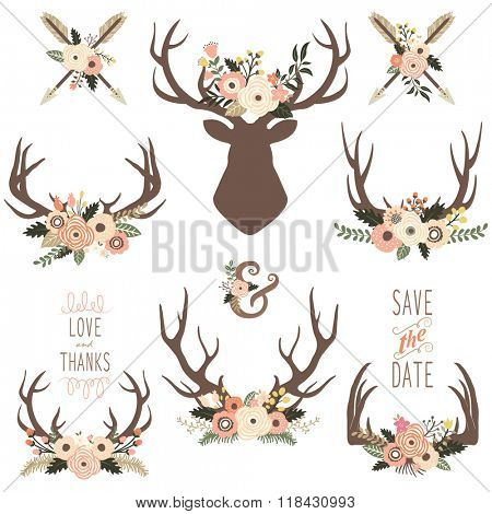 Floral Antlers Elements