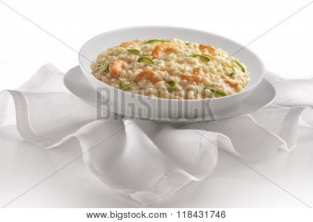 Dish Of Risotto With Prawns And Zucchini