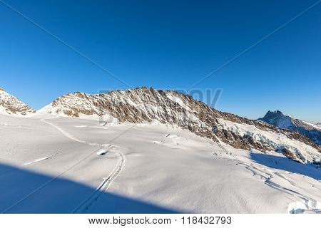Stunning View Of Trugberg And Aletsch Glacier