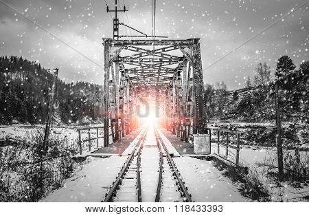Railway Flyover And Spotlight
