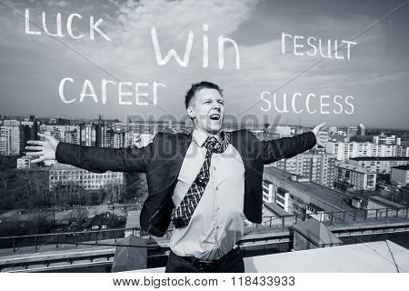 Cheerful businessman standing on the roof