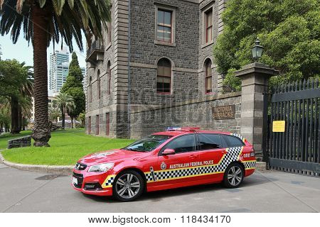 Australian Federal Police car providing security at Victory Barracks in Melbourne