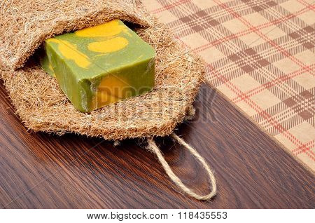 Handmade Soap On Wooden Background.
