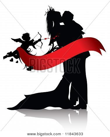 Romantic Couple And Cupid Background