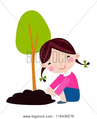 Happy kid is planting small plant cartoon