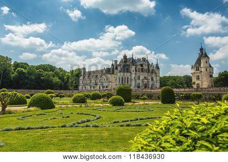 Castle Chenonceau On The River Cher (near Village Chenonceaux, France)