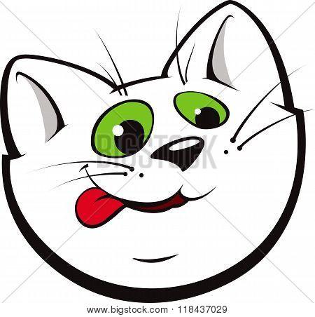Cartoon Cat Licking Its Chops.