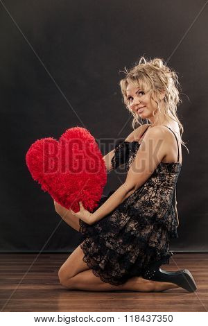 Mature Woman Hug Big Red Heart