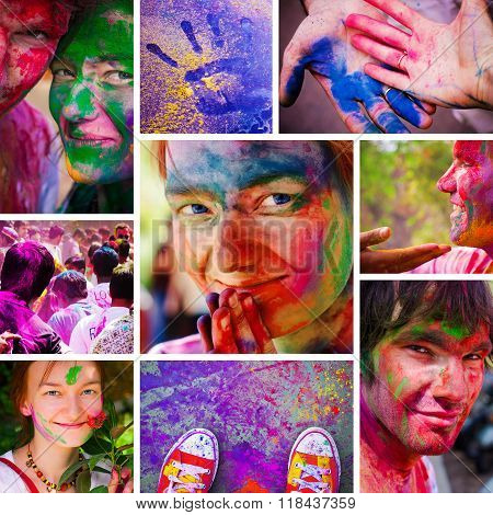 Holi Collage. People Celebrate Festival Holi