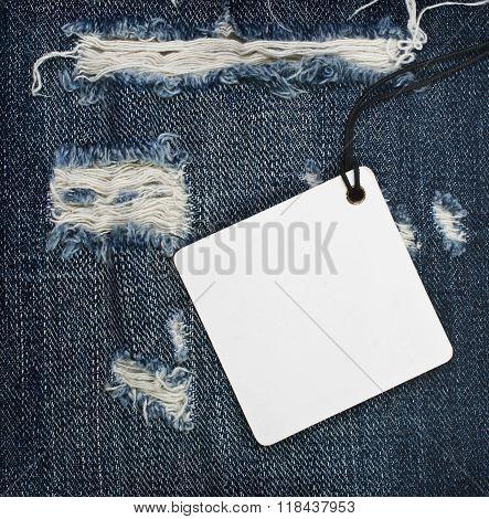 Vintage paper tag on blue denim of good quality