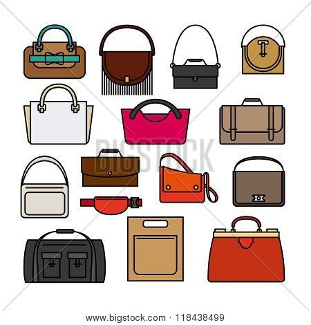 Bag colored icons. Bags and handbags vector icons