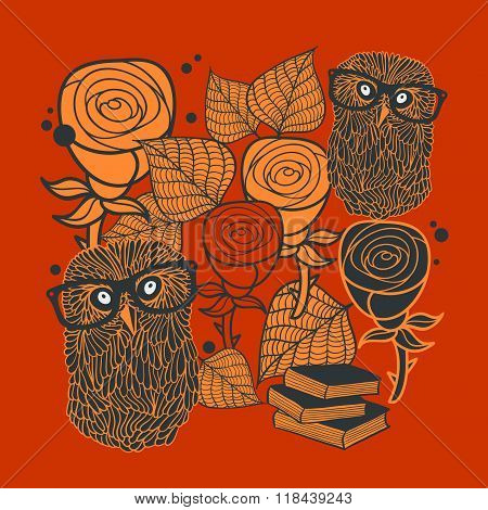 Books and owls on the floral background.