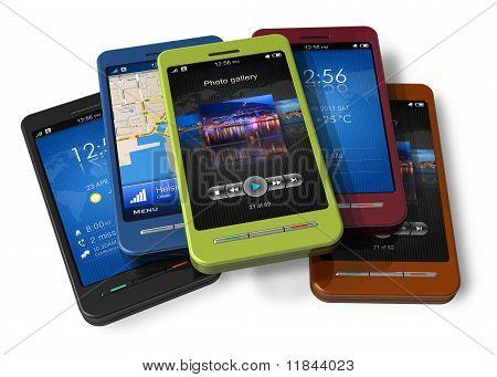 Conjunto de teléfonos inteligentes con pantalla táctil