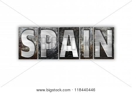 Spain Concept Isolated Metal Letterpress Type