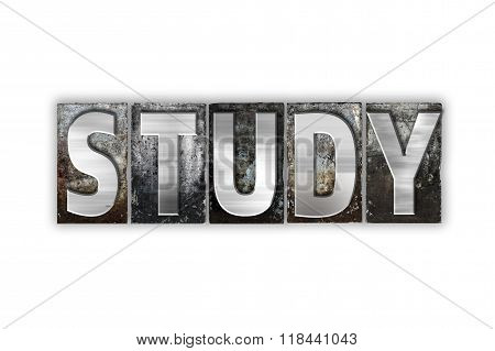 Study Concept Isolated Metal Letterpress Type