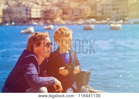father and little son travel in Europe, Malta