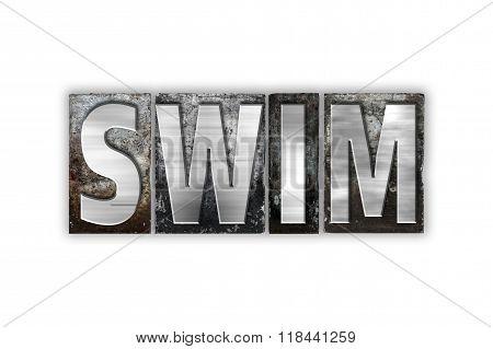 Swim Concept Isolated Metal Letterpress Type