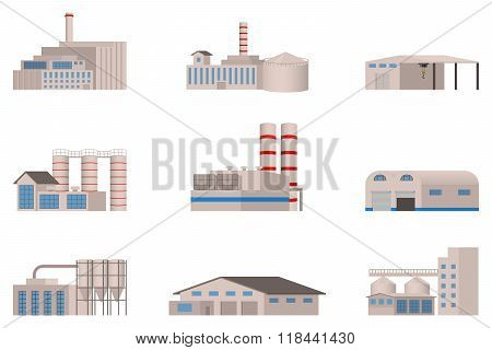 Factory vector set. Factory building.