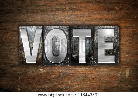 Vote Concept Metal Letterpress Type