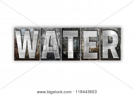 Water Concept Isolated Metal Letterpress Type
