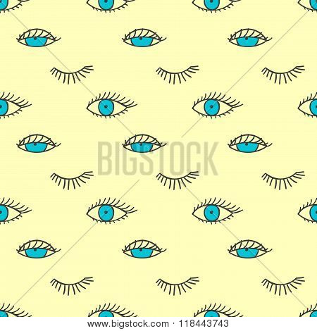 Seamless pattern with eyes and lashes.