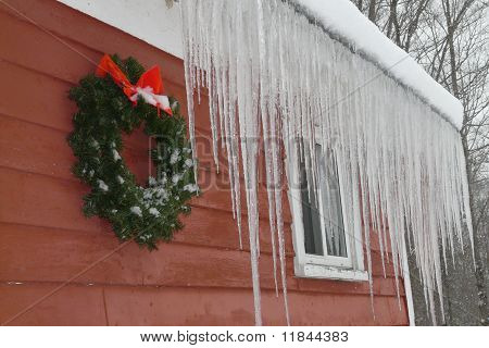 Icicles and a Christmas Wreath