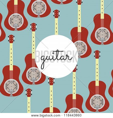 Folk String Instrument Resonance Guitar On A Colored Background