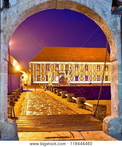 Historic Street Of Varazdin Evening View