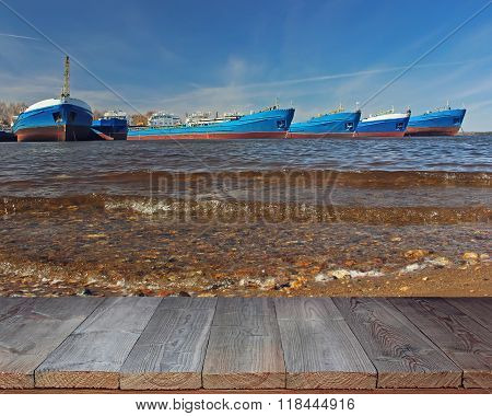 Empty Wooden Flooring Against The Barge In The River.