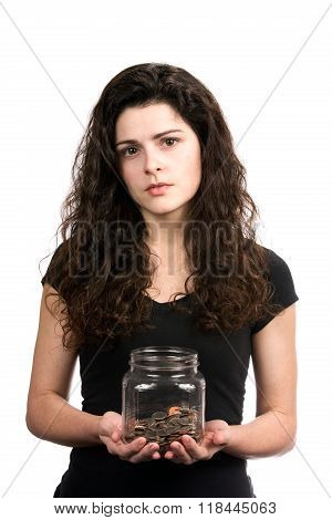 Woman Holding Money Jar