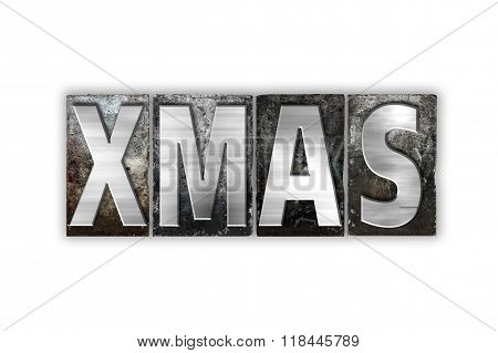 Xmas Concept Isolated Metal Letterpress Type