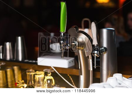 Draught Beer in a Bar. Bar equipment