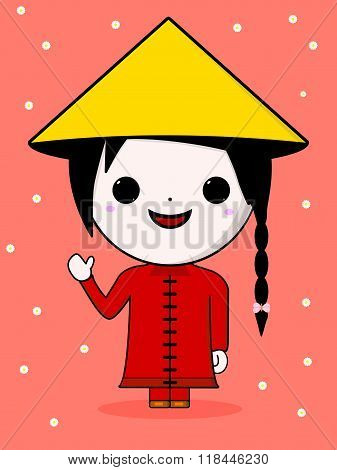Cute Chinese Girl Illustration