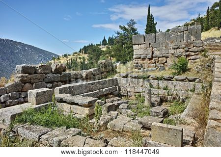 Panoramic view of Ancient Greek archaeological site of Delphi, Greece