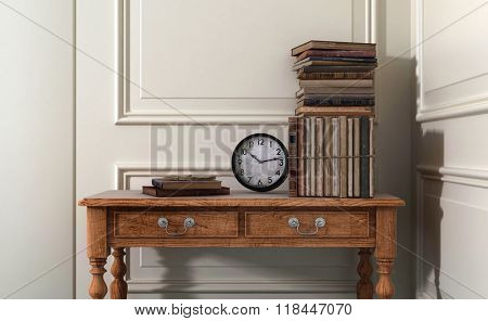 Antique Books and Clock on Old Wooden Table in Modern Home with White Walls and Decorative Moulding and Copy Space. 3d Rendering.