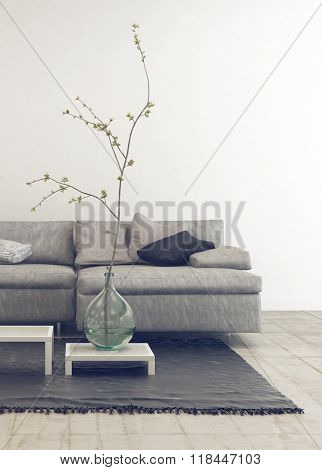 Home interior of living room with gray sofa, carpet with large plant in round glass vase and black accents. 3d Rendering.