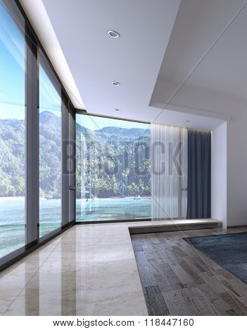 Interior of Spacious Luxury Home or Apartment with Large Floor to Ceiling Windows with View of Tropical Beach and Jungle Covered Mountains. 3d Rendering.
