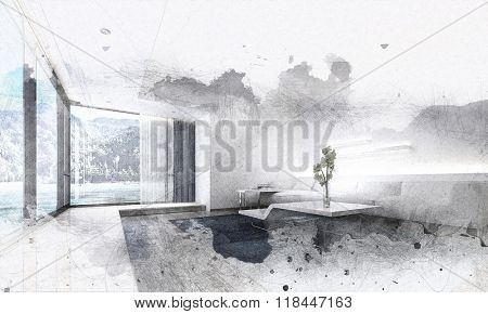 Graphic Monochrome Illustration of Modern Living Room in Spacious Vacation Home with Contemporary Furniture and Large Picture Window with View of Beach and Mountains. 3d Rendering.