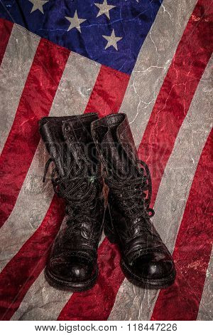 Combat Boots With Flag