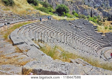 Amazing view of Amphitheater in Ancient Greek archaeological site of Delphi, Greece