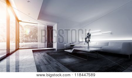 Panoramic of Bright Warm Sunlight Shining Through Large Picture Window in Modern Vacation Home, Monochrome Interior of Living Room with White Sofa and Contemporary Tables. 3d Rendering.