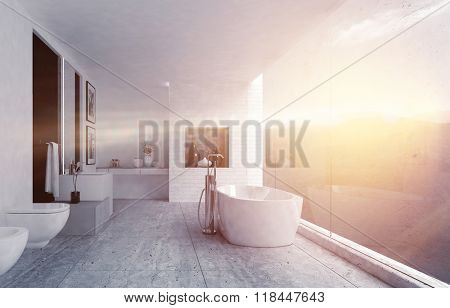 Spacious scene of bathroom with porecelain bathtub, toilet and bidet near large window above mountains with sunset and light flare. 3d Rendering.