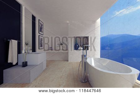 Large porcelain bathtub in spacious luxury bathroom decorated with glassware and pictures on marble floor facing mountains in wide window. 3d Rendering.
