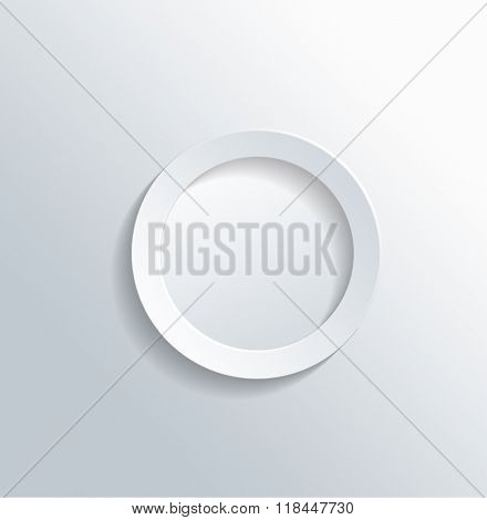 High Angle View of Plain White Paper Cut Out Ring on Gray White Gradient Background with Ample Copy Space. 3d Rendering.