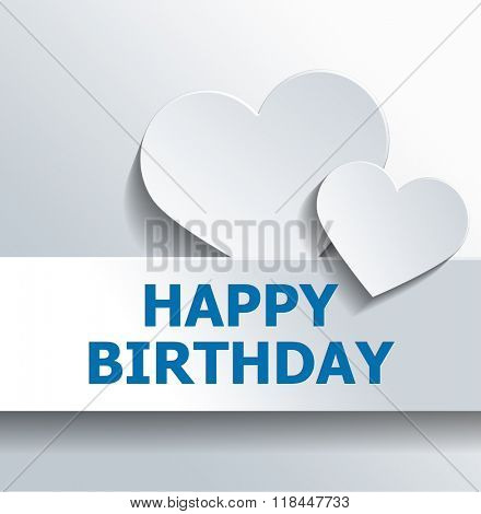 Happy birthday greeting background design of two heart shapes with copy space over text. 3d Rendering.