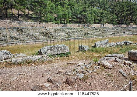 The mountain top stadium at Delphi, Greece