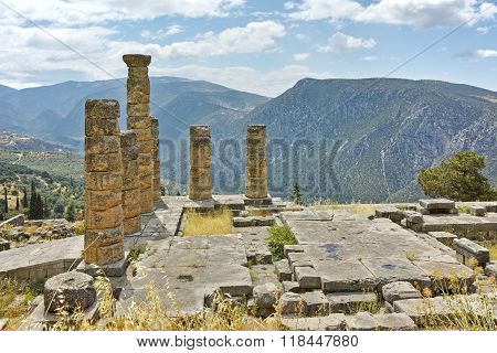 Panoramic view of The Temple of Apollo in Ancient Greek archaeological site of Delphi, Greece